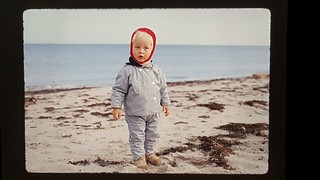 Lars at the beach in Autumn, Bøtø, 1970