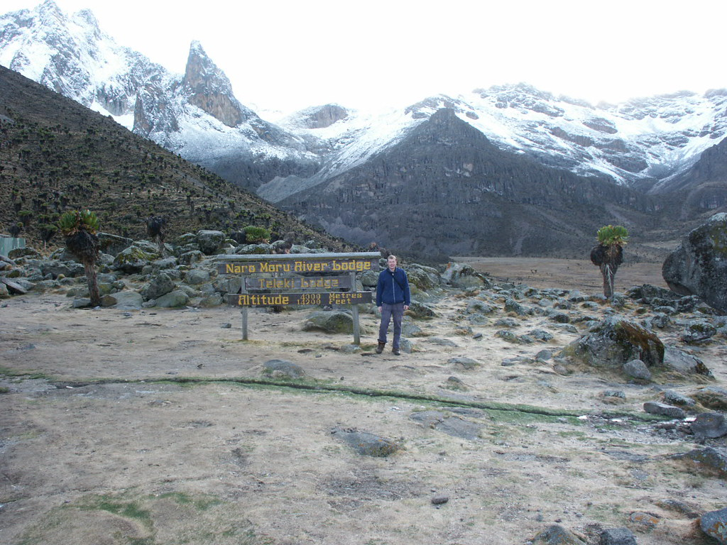 Me standing by the sign at Mackinder's Camp with Mt Kenya over my right shoulder.