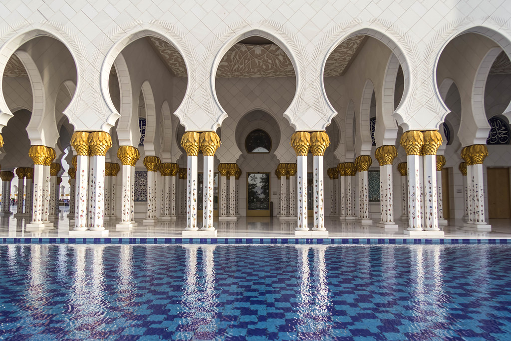 Sheikh Zayed Grand Mosque Colonade And Reflecting Pool