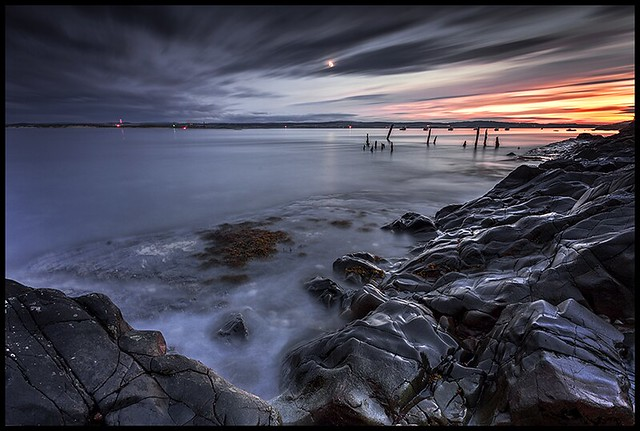 Holy island at night