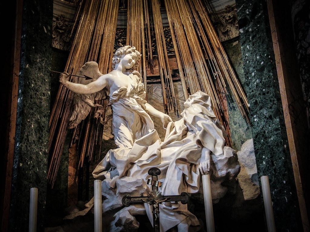 """Bernini's """"Ecstasy of St. Teresa"""" graces the Cornaro Chapel in the Santa Maria della Vittoria, Rome"""