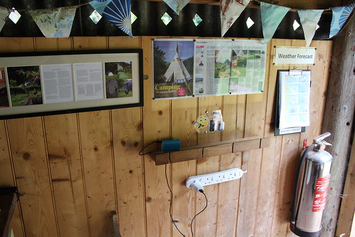 Framed campsite reviews and device charging station at Priory Mill   by pluralzed