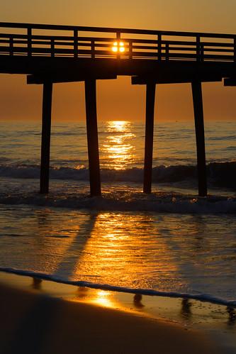 beachsunrise beach sunrise dawn fishingpier sun newjersey jerseyshore