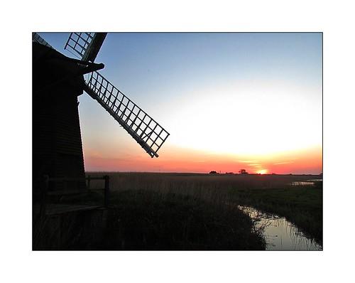 sunset sky orange reflection mill water windmill silhouette suffolk herringfleet
