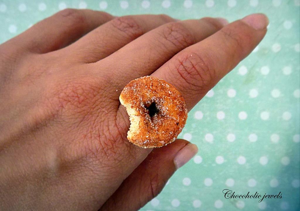 miniature food jewelry Handmade miniature polymer clay donut ring food jewelry donut ring