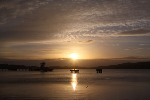 sunset sea reflection silhouette coast scotland unitedkingdom kintyre campbeltown campbeltownloch