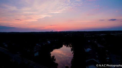 houses sunset sky sun water clouds buildings landscape nc watertower sunsets northcarolina raleigh roads aerialphotography wakeforest drone dji