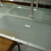 Low glass and chrome coffee table
