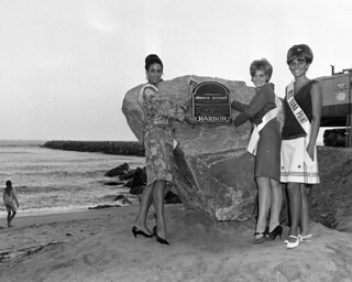 Beauty queens with time capsule rock, Dana Point, 1966 | by Orange County Archives