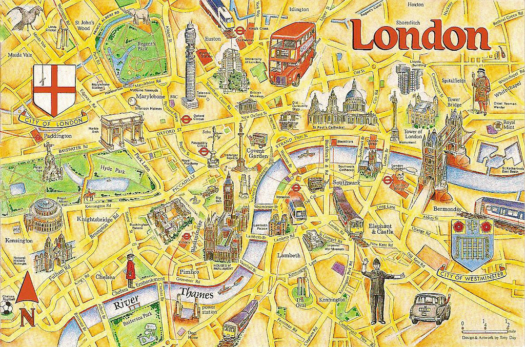London Tourist Map London Tourist Map | An early 1990s postcard showing the tou… | Flickr