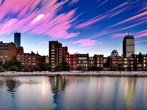 sunset summer water boston architecture buildings timelapse skyscrapers massachusetts charlesriver newengland backbay brownstones newandold cloudtrails timestack