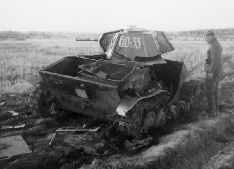 Soviet T-70 light tank destroyed during Operation Barbarossa