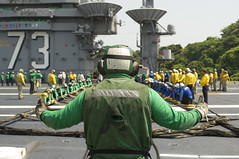 Sailors aboard USS George Washington conduct a barricade drill in Yokosuka, May 8. (U.S. Navy/MCSN Bryan Mai)