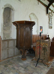 pulpit, rood stair entrance and rood screen fragment