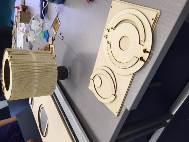 Lamp created using the laser engraver in the Innovation Lab.