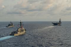In this file photo, USS Carl Vinson (CVN 70), USS Gridley (DDG 101), left, and USS Bunker Hill (CG 52) operate in the South China Sea during a training exercise with the Malaysian Armed Forces earlier this month. (U.S. Navy/MC2 John Philip Wagner, Jr.)