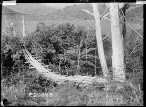 Oparau swing bridge, Waikato.