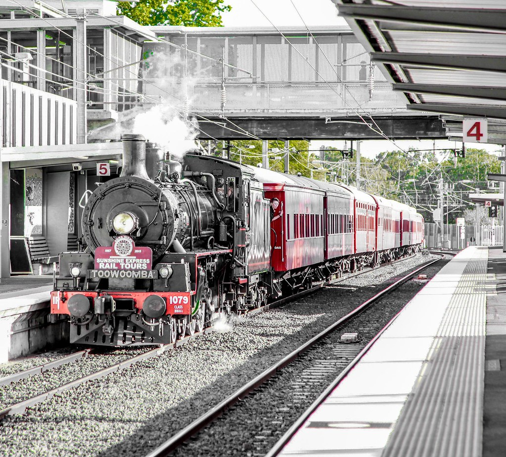 Steam train BB18 1/4 arriving at Corinda Station, Brisbane by Lance CASTLE