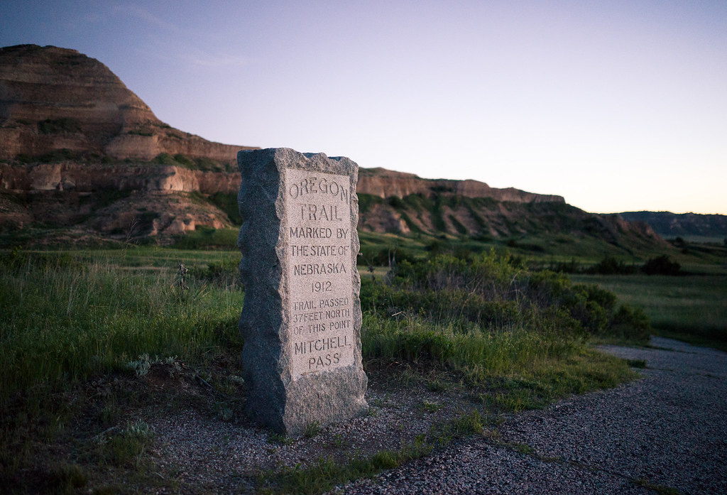 Scotts Bluff NE~Conestoga Wagon Reenacts Oregon Trail Ride