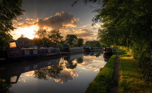 sunset sun reflection canal cheshire hdr hss