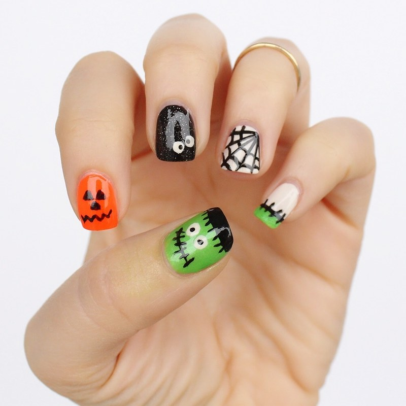 Crazy Halloween Nails | Ghosts Frankenstein Manicure | 6 Halloween Manicures That are SCARY Good | Halloween Nails | Nail Art | Nail Designs | Spooky Nails