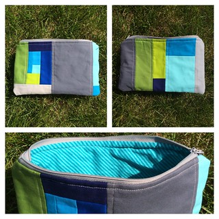 Scrappy quilted pouch