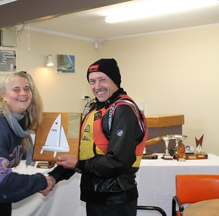 Chantal Grass presenting Phil Brockliss Memorial Trophy to Jeff Coffin, winner of the River Race series | by PLSC (Panmure Lagoon Sailing Club)