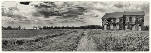 panorama building history field sepia clouds landscape newjersey farm rustic monmouth revolutionarywar battlefield 1778