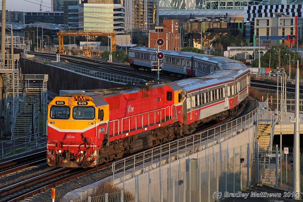 N474 with #8133 down Bacchus Marsh V/line pass near Nth Melbourne (18/5/2015). by Bradley Matthews