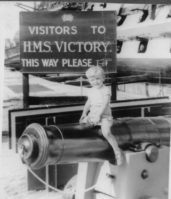 1956 -  4 - Steven on canon by Victory, Portsmouth