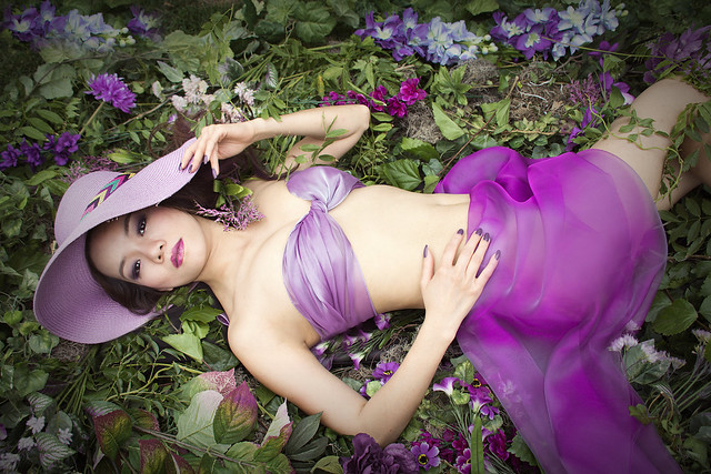 Purple Ribbon - Semi Nude Fashion Model Fantasy Art Photography