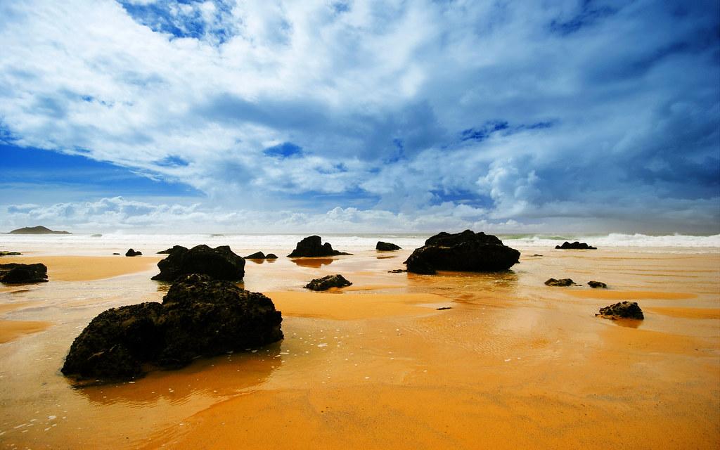Beach Rocks Sky Clouds View Hd Wallpaper Stylishhdwallpa