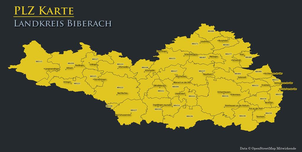 Plz Karte Landkreis Biberach Postleitzahlengebiete Mit Mar Flickr