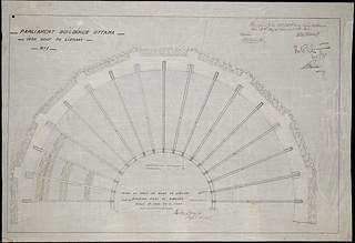 Old Centre Block, Parliament Buildings, Ottawa. Plan of half of the library's iron roof showing purlins / Ancien édifice du Centre du Parlement, à Ottawa; plan montrant les pannes de la moitié du toit en cuivre de la bibliothèque