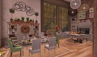 Thanksgiving 2015- Dining Room & Kitchen | by Hidden Gems in Second Life (Interior Designer)