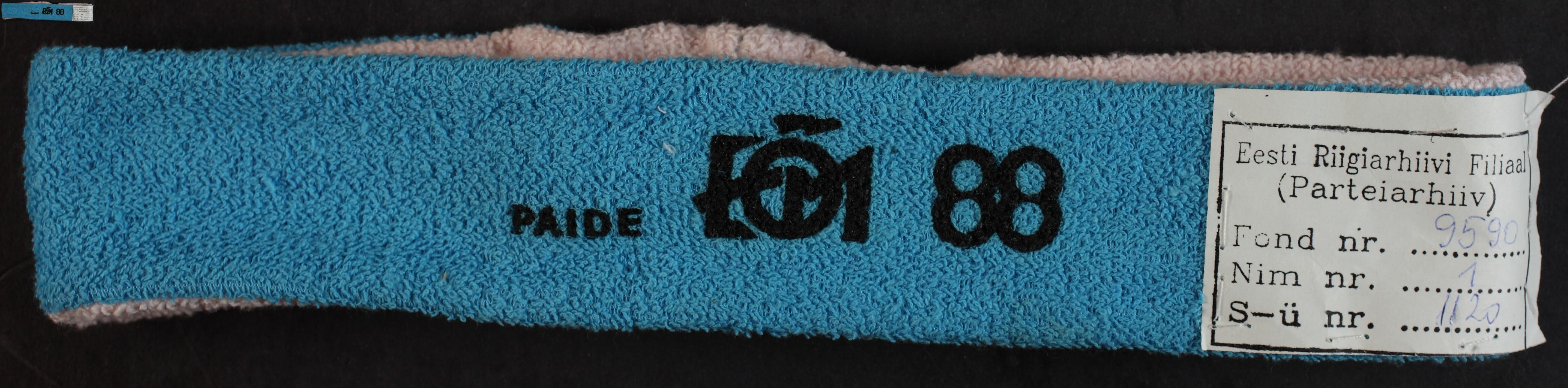 Maleva peapael. Paide 1988 / Secondary School Students' Building Brigade headband, Paide 1988