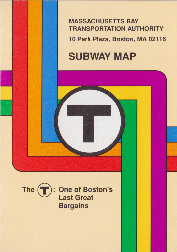 Boston Subway Map Poster.Mbta T Subway Map Card 1989 A Colourful Take On The Li Flickr