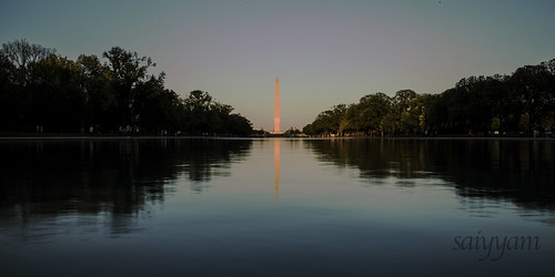 mirage reflecting pool reflection monument washington lincoln water daytime evening golden blue hour sunlight sunshine sunset sky outdoors dc usa north america canon 6d nature structure architecture clear ripple
