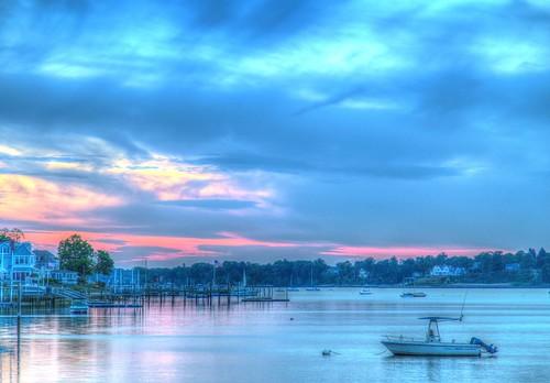2015 spring navesink river sunset water boat boats sky clouds fairhaven nj og hdr