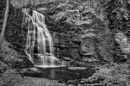 longexposure autumn bw usa leaves rock pond pennsylvania falls le select