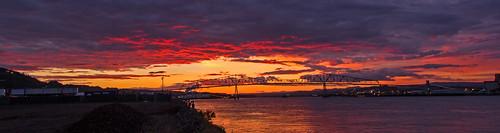 columbiariver nature rainieroregon oregon sunset bridge color twilight lewisandclarkbridge
