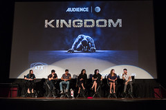 Moderator Robyn Ross, Byron Balasco, Frank Grillo, Natalie Martinez, Joanna Going, Kiele Sanchez and Matt Lauria