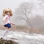 霧中の由良川