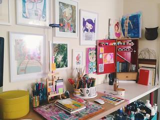 An updated view of my studio space. Taken August 28, 2015.   by Tamara Hala