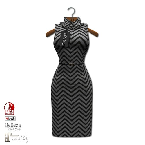 {MYNX} Cowl Neck Tank Dress - Chevron