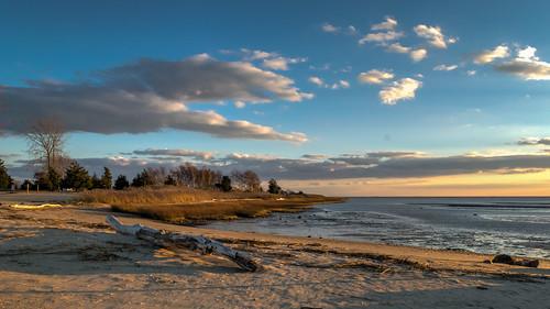 ocean sunset shadow sky beach clouds evening sand nikon shadows connecticut driftwood lowtide goldenhour clintontownbeach nikond5300