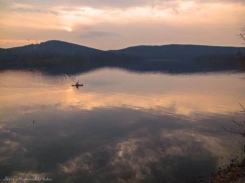 autumn sunset sky sun lake mountains fall water clouds canon reflections newjersey powershot reservoir hills paintedsky ringwood g12 monksville monksvillereservoir smack53