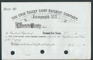 Culm Valley Light Railway Company non issued share certificate of 18xx | by ian.dinmore