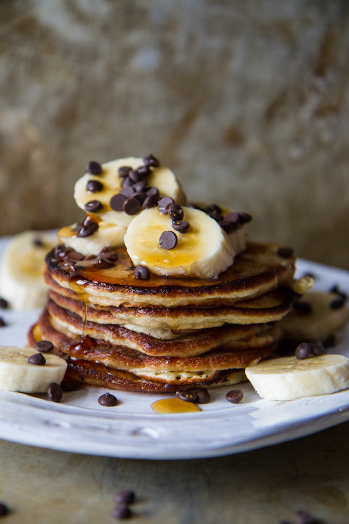 Banana Chocolate Chip Pancakes, vegan and gluten free