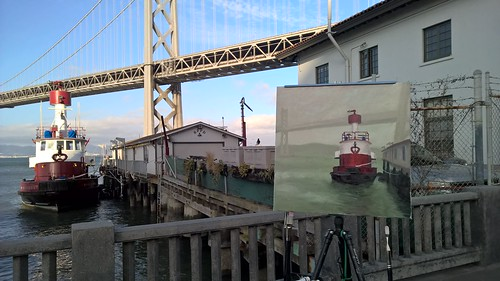 Painting of Embarcadero Fireboats at Richard Robinson's Workshop | by zedshaw